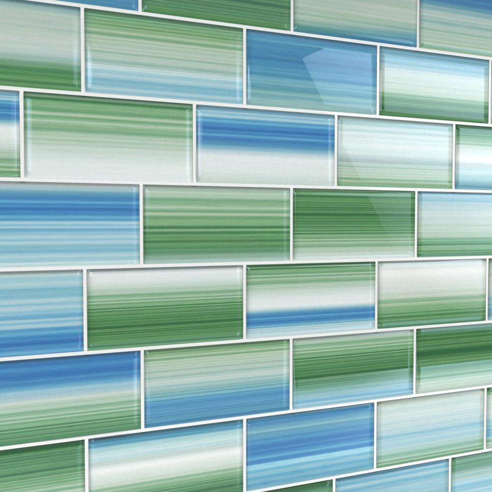- Bodesi Tidal 3 In. X 6 In. Glass Tile For Kitchen Backsplash And