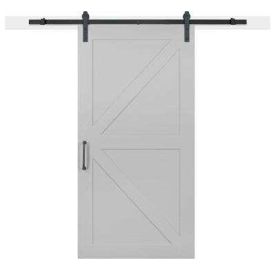 42 in. x 84 in. Gray Geese Composite K-Bar Solid-Core MDF Barn Door with Sliding Door Hardware Kit