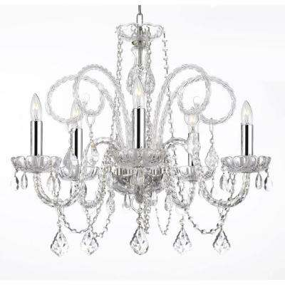Empress Crystal 5-Light Crystal Plug-In Chandelier with Chrome Sleeves
