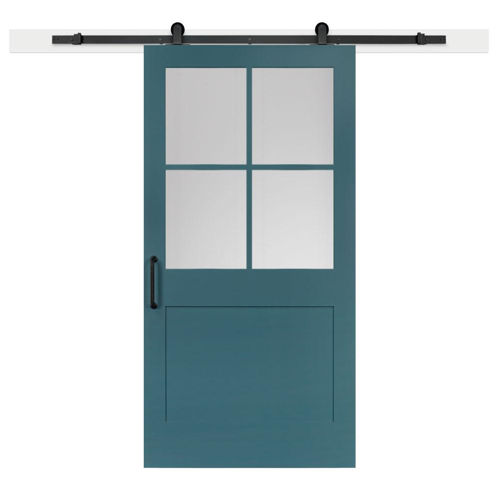 Jeff Lewis 42 in. x 84 in. Pacific 1-Panel Privacy Half-Lite Satin Solid-Core MDF Sliding Barn Door with Hardware Kit