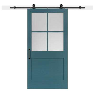 42 in. x 84 in. Pacific 1-Panel Privacy Half-Lite Satin Solid-Core MDF Barn Door with Sliding Door Hardware Kit