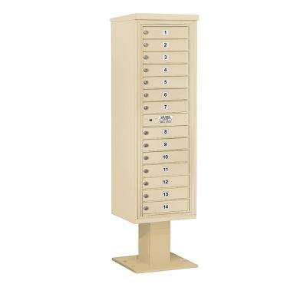 3400 Horizontal Series 14-Compartment Pedestal Mount Mailbox