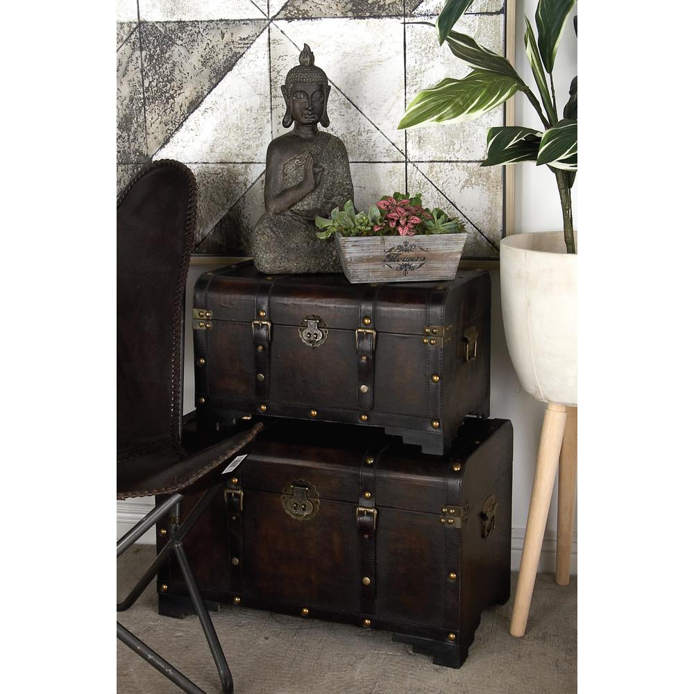 Distressed Brown MDF Wood with Faux Leather Cover Trunk-Style Footed Decorative