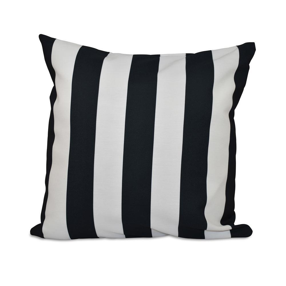 EbyDesign E BY DESIGN 16 in. x 16 in. Classic stripes decorative Pillow in Black