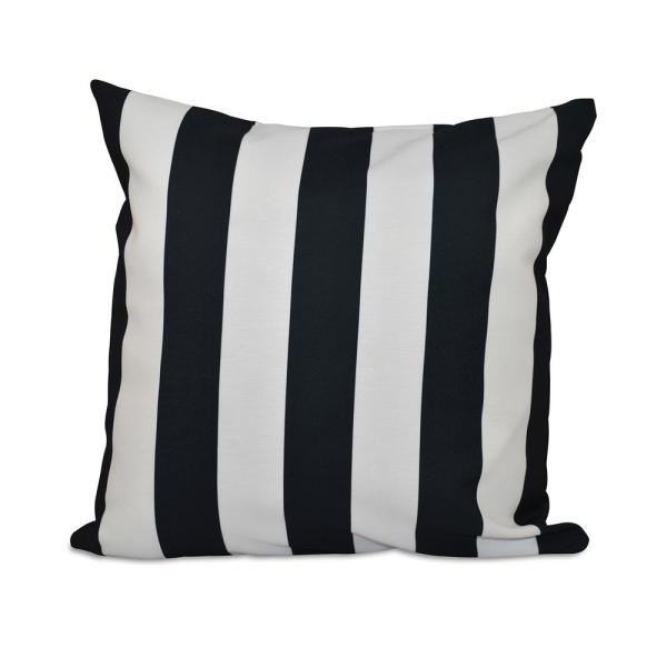 undefined 16 in. x 16 in. Classic stripes decorative Pillow in Black