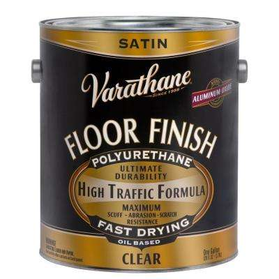 1 gal. Floor Finish Clear Satin Oil-Based Interior Polyurethane (Case of 2)