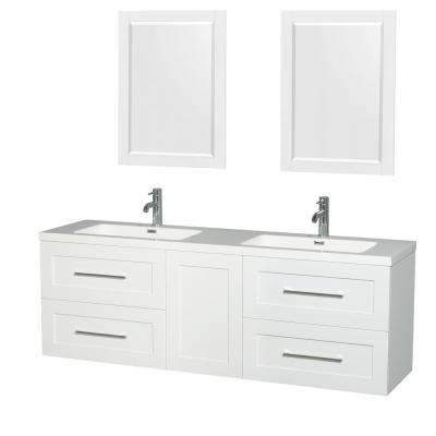 Olivia 72 in. W x 19 in. D Vanity in Glossy White with Acrylic Vanity Top in White with White Basins and 24 in. Mirrors