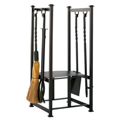 Olde World Iron 4-Piece Fireplace Tool Set with Log Rack