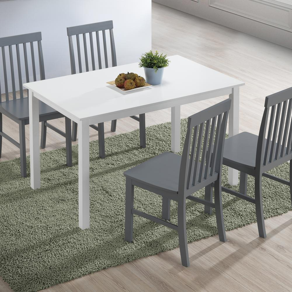 Walker Edison Furniture Company 5 Piece Modern Farmhouse Dining Rooom Set White Grey Hdw485pcwg The Home Depot