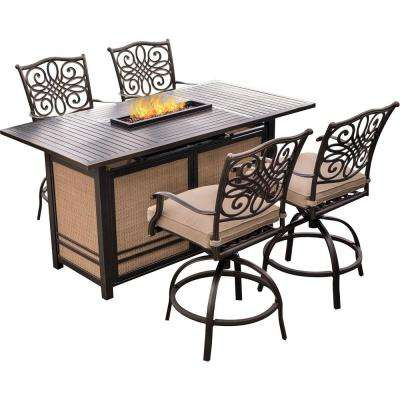 Traditions 5-Piece Aluminum Rectangular Outdoor High Dining Set with Fire Pit with Natural Oat Cushions