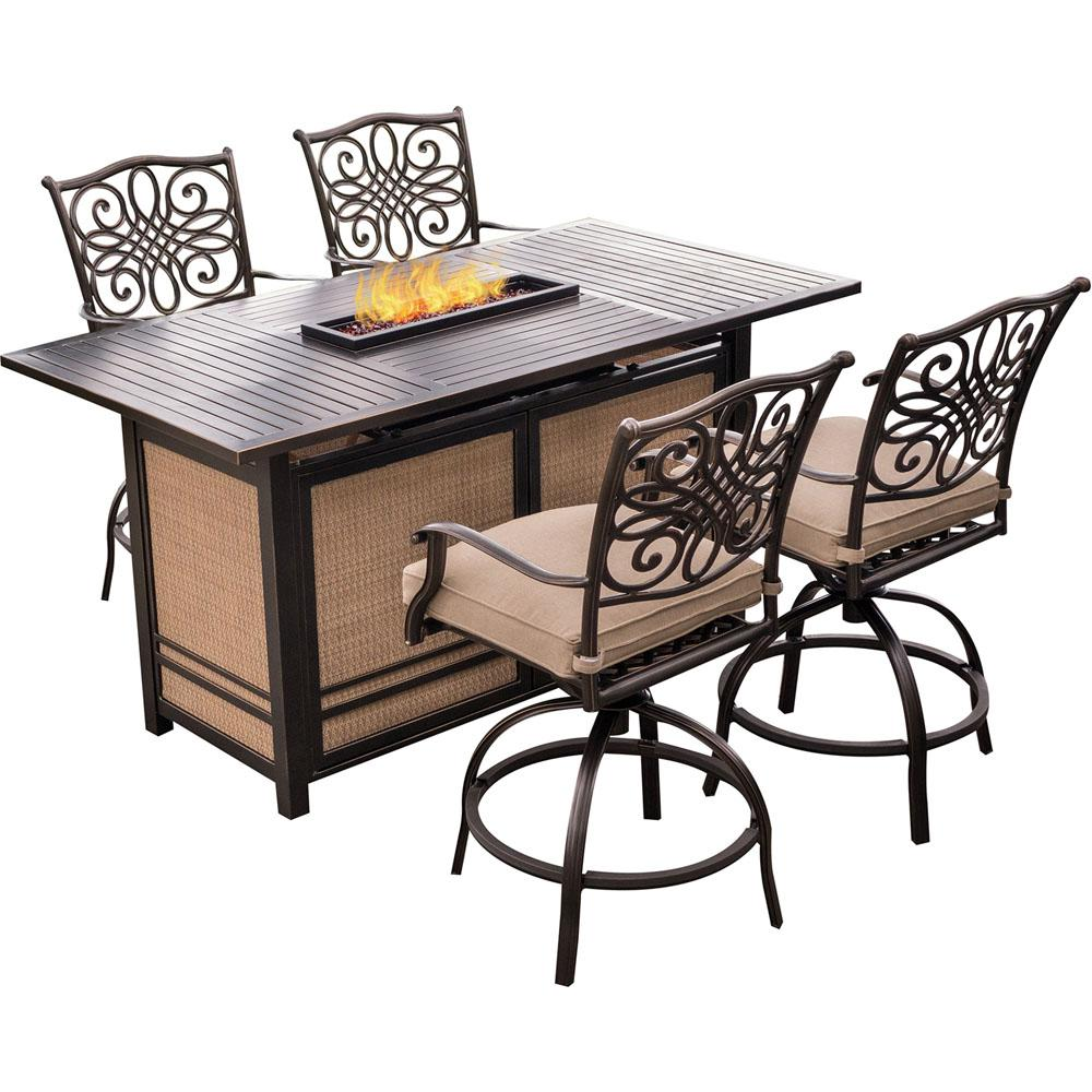 Hanover Traditions 5 Piece Aluminum Rectangular Outdoor High Dining Set With Fire Pit Natural Oat Cushions