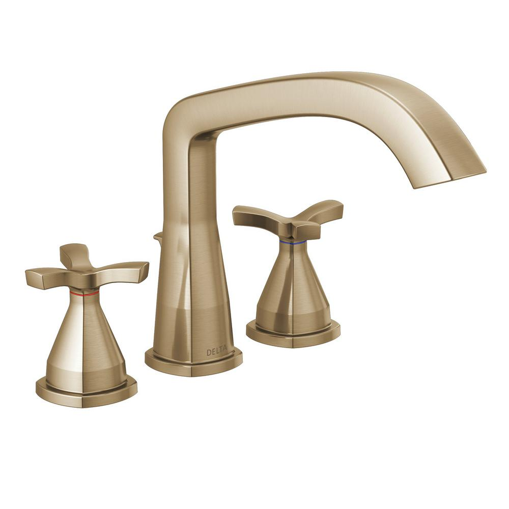 Delta Stryke 2-Handle Deck Mount Roman Tub Faucet Trim Kit in Champagne Bronze (Valve Not Included)