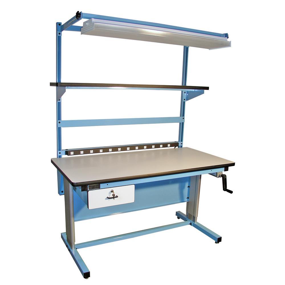 72 in. Light Blue/White Rectangular 1 -Drawer Standing Desk with Adjustable Height