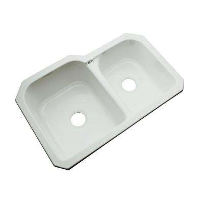 Cambridge Undermount Acrylic 33 in. 0-Hole Double Bowl Kitchen Sink in Sterling Silver