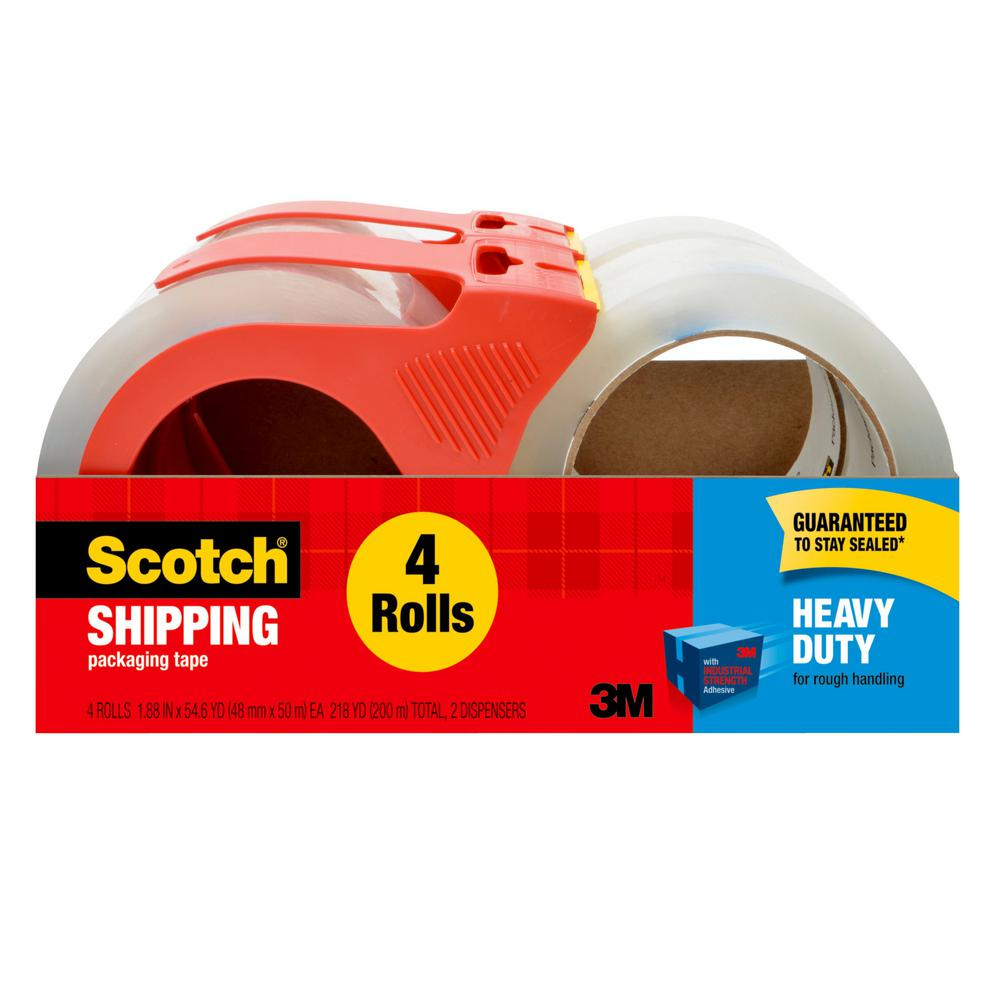 3M Scotch Heavy Duty Shipping Packaging Tape 1.88 in. x 54.6 yd (48 mm x 50 m) 2 Dispensers with 4 Rolls