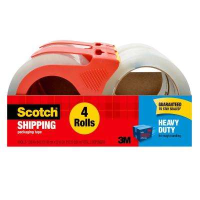 Scotch Heavy Duty Shipping Packaging Tape 1.88 in. x 54.6 yd (48 mm x 50 m) 2 Dispensers with 4 Rolls