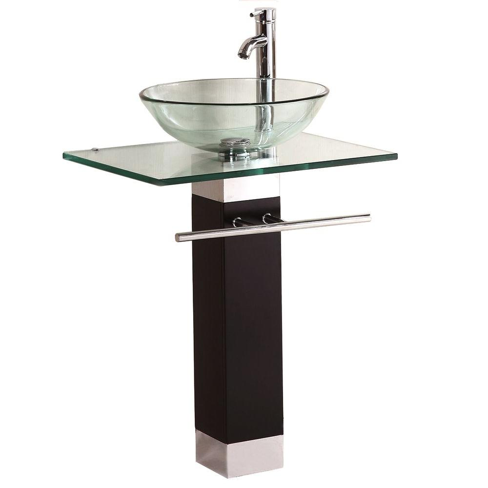 Bathroom Vanity Pedestal: Kokols Pedestal Combo Bathroom Sink In Clear-WF-09