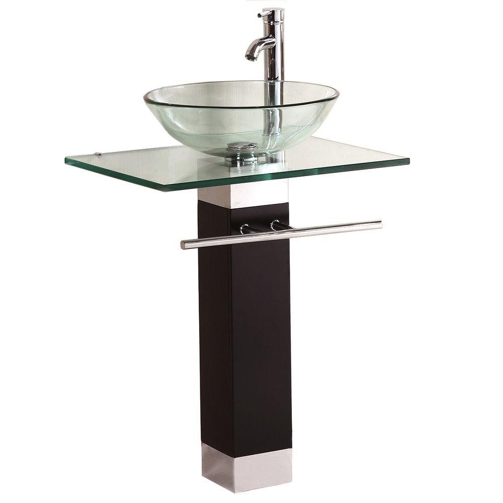 Kokols Pedestal Combo Bathroom Sink in Clear by Kokols