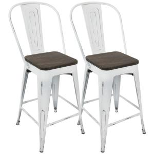 Lumisource Oregon Vintage White And Espresso High Back Counter Stool (Set  Of 2) CS ORHB VW+E2   The Home Depot