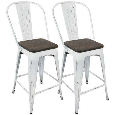 Oregon Vintage White and Espresso High Back Counter Stool (Set of 2)