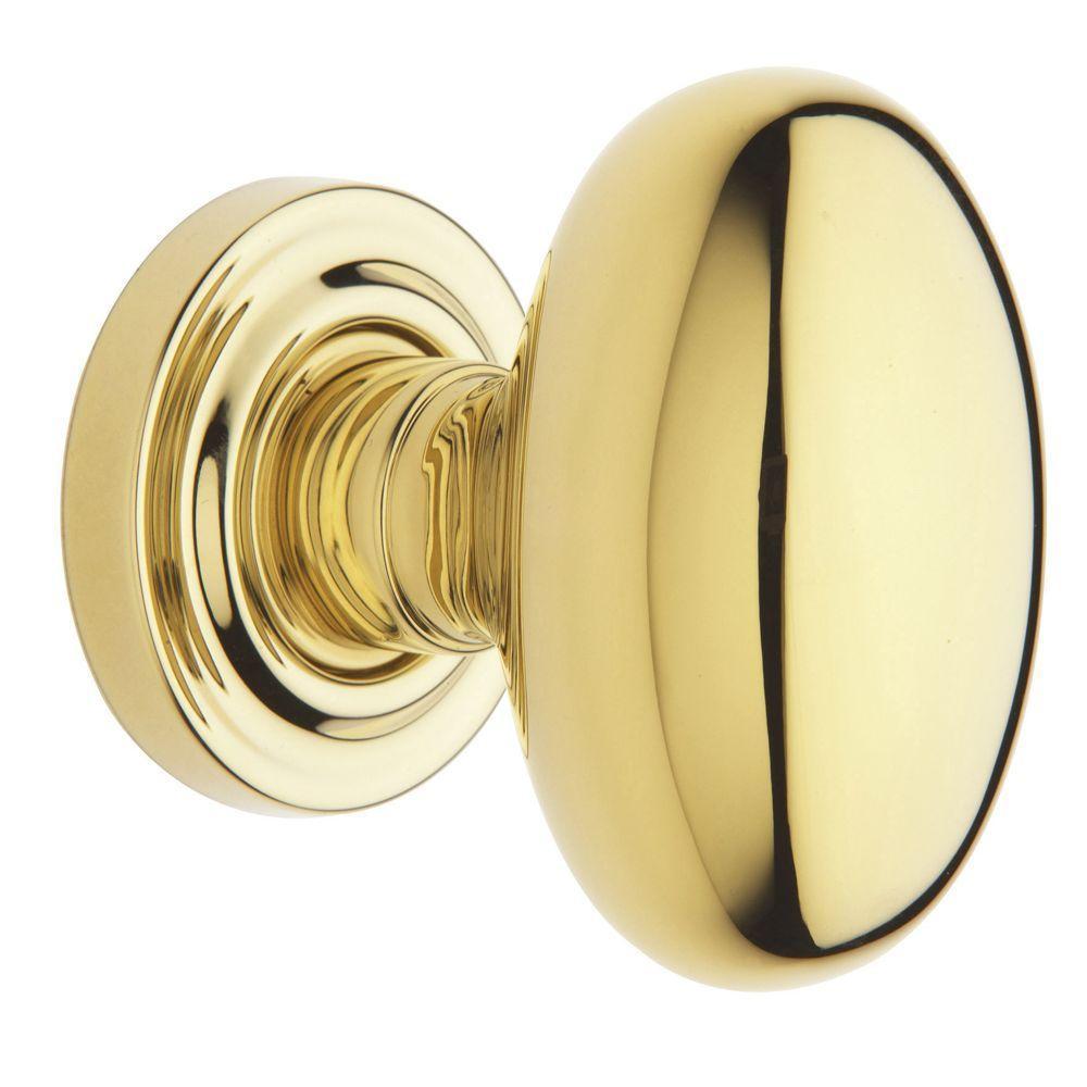 Estate Polished Brass Full Dummy Egg Door Knob