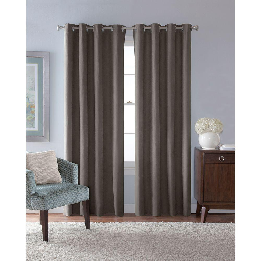 Solaris Semi Opaque Grey Faux Suede Grommet Curtain 1