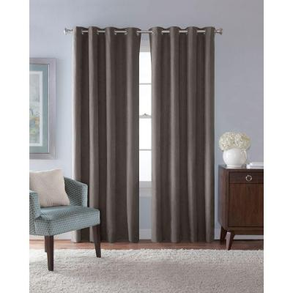 54 in. W x 84 in. L Faux Suede Room Darkening Window Panel in Grey