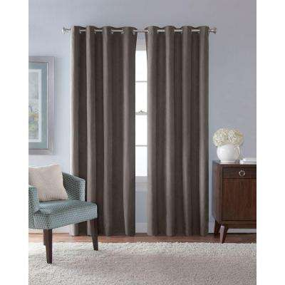 54 in. W x 84 in. L Faux Suede Room Darkening Window Panel in Grey