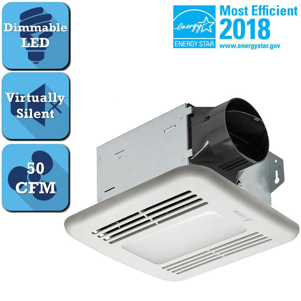 Integrity Series 50 CFM Ceiling Bathroom Exhaust Fan with Dimmable LED