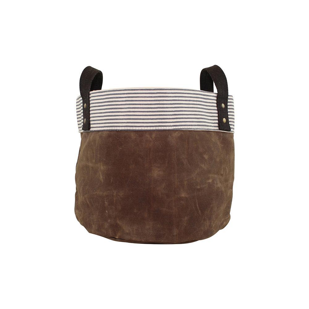 Small Khaki Waxed Canvas Round Bottom Fabric Storage Tub