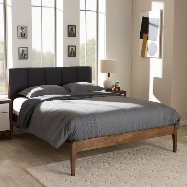 Ember Mid-Century Dark Gray Fabric Upholstered Queen Size Bed