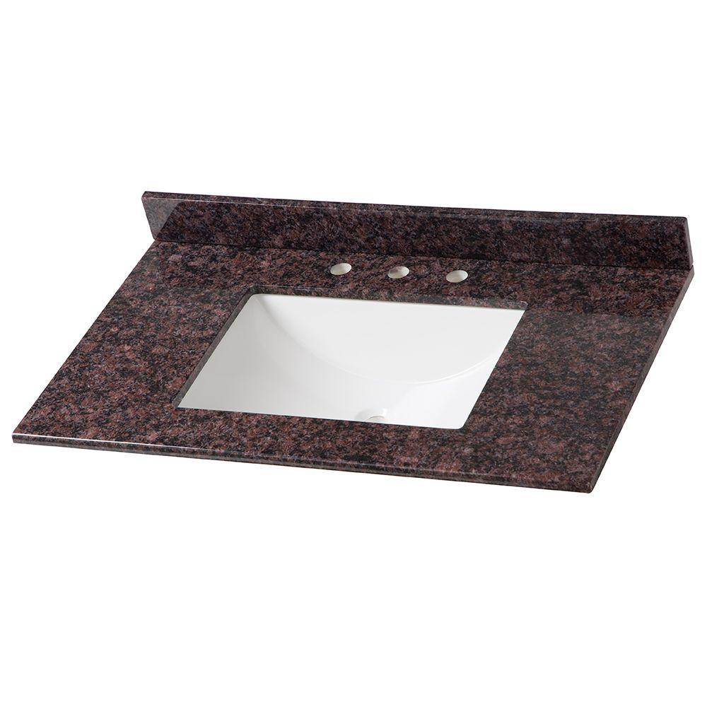 37 in. Stone Effects Vanity Top in Tan Brown with White