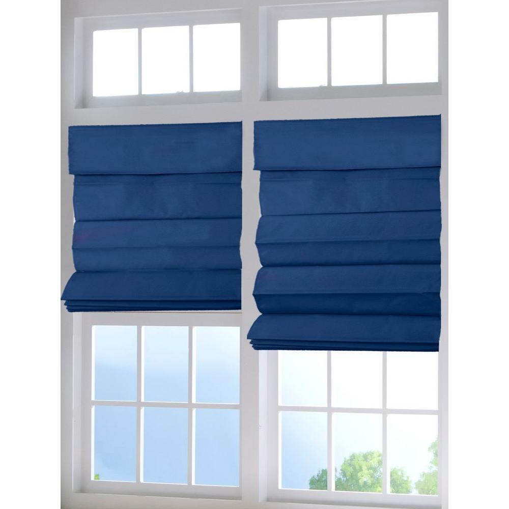 Deep Blue Cordless Fabric Roman Shade 35 In W X