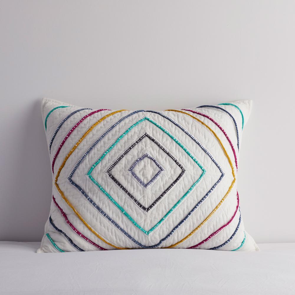 Diamond Stitch Multicolored Geometric Textured Cotton Standard Sham