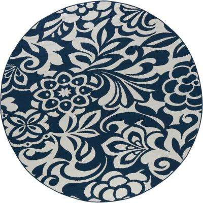 Tahari Navy 8 ft. x 8 ft. Round Indoor/Outdoor Area Rug