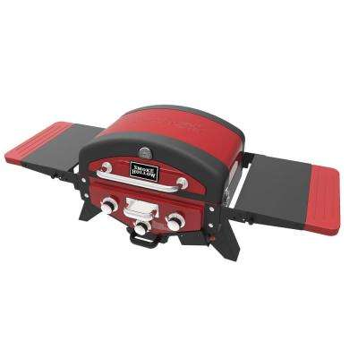VECTOR Series 3-Burner Portable Tabletop Grill Propane Gas in Red with Side Tables