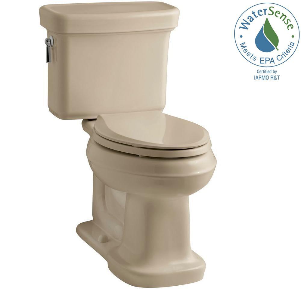 Bancroft 2-Piece 1.28 GPF Single Flush Elongated Toilet with AquaPiston Flush Technology in Mexican Sand