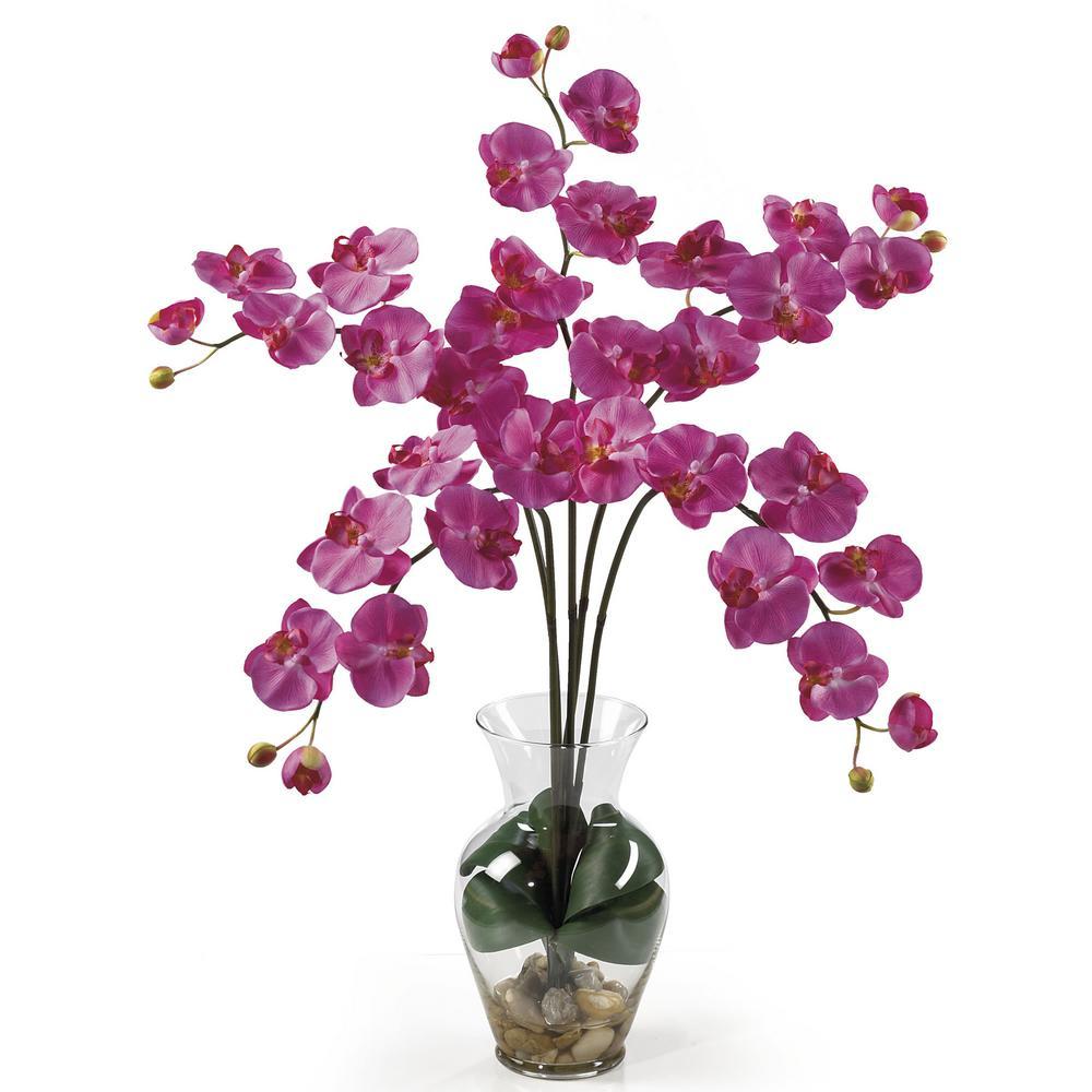31 in. Phalaenopsis Liquid Illusion Silk Flower Arrangement in Dark Pink