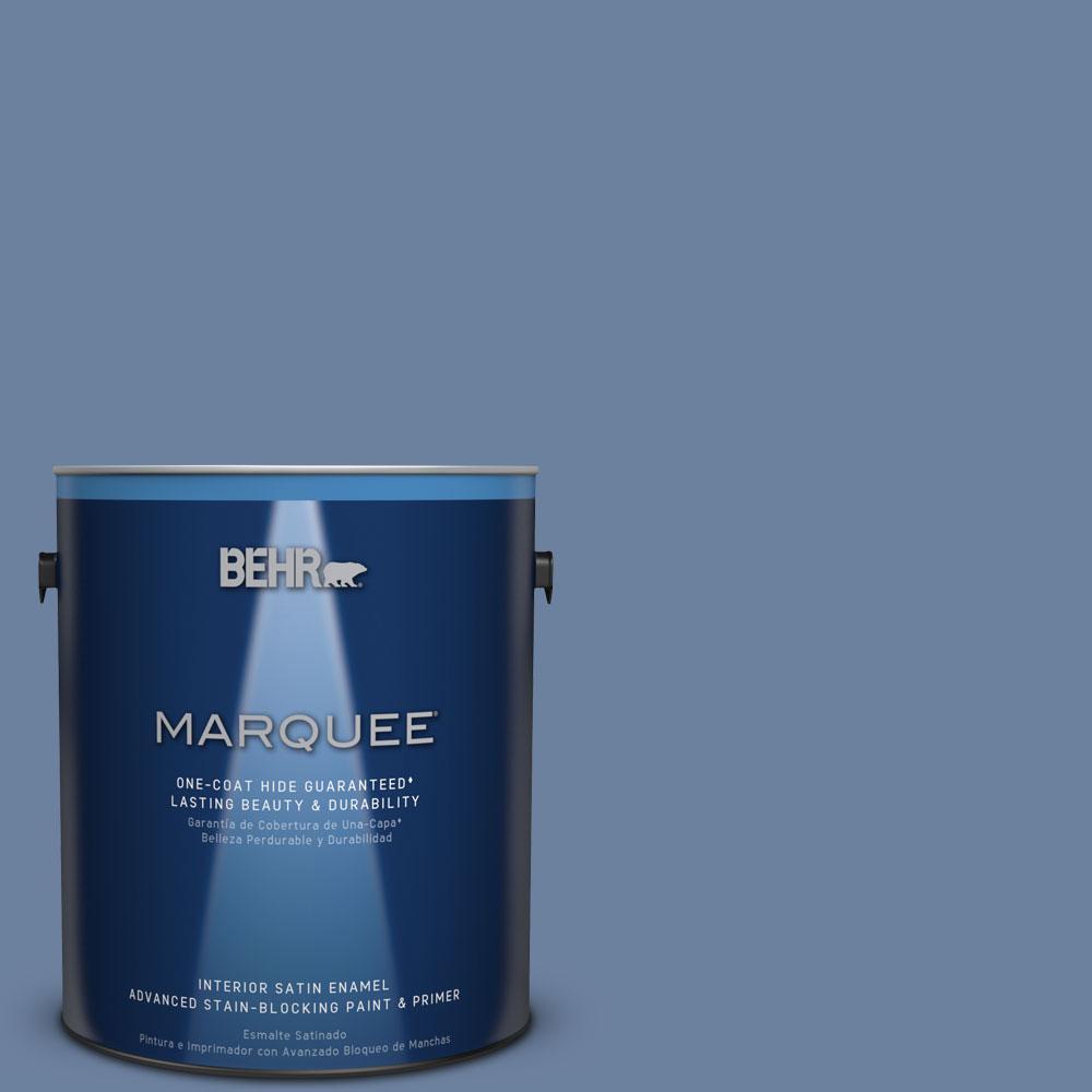 1 gal. #S530-5 Brisk Blue One-Coat Hide Satin Enamel Interior Paint