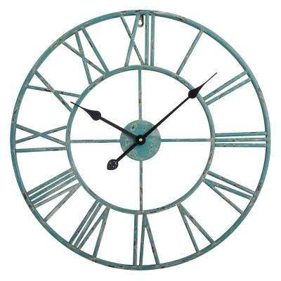 Roman 24 in. Distressed Finish Distressed Blue Round Wall Clock
