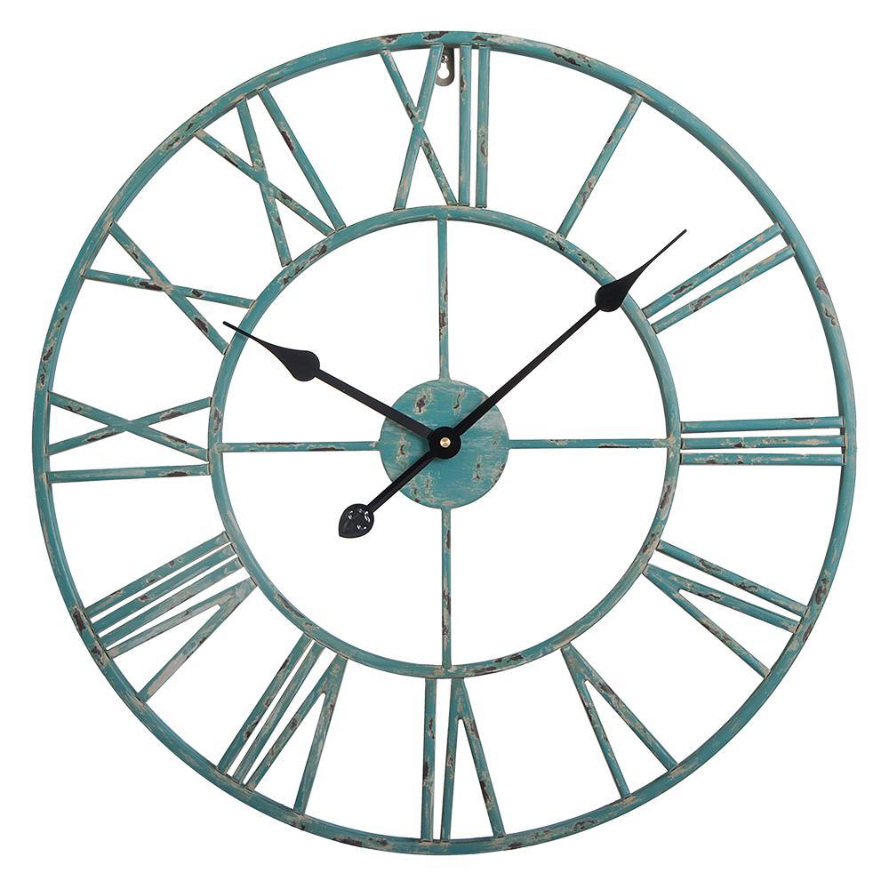 Utopia Alley Roman Round Wall Clock Distressed Sea Green 24 Diameter