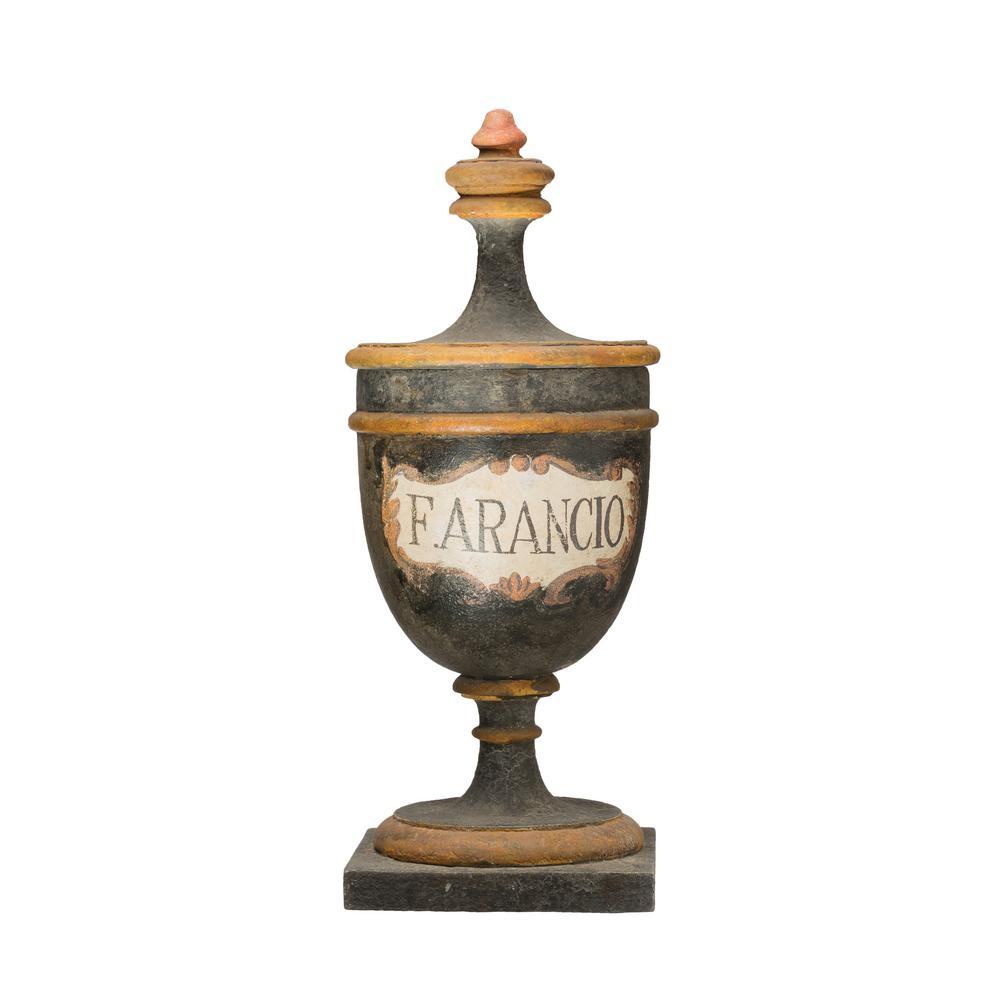 19.5 in. H Vintage Reproduction F. Arancio Black Magnesia Pharmacy Urn