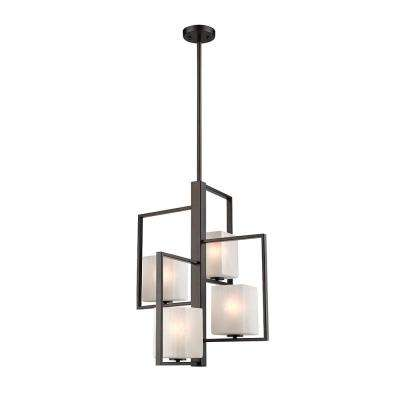 Wilmington 4-Light Oil Rubbed Bronze Chandelier with Cracked Glass