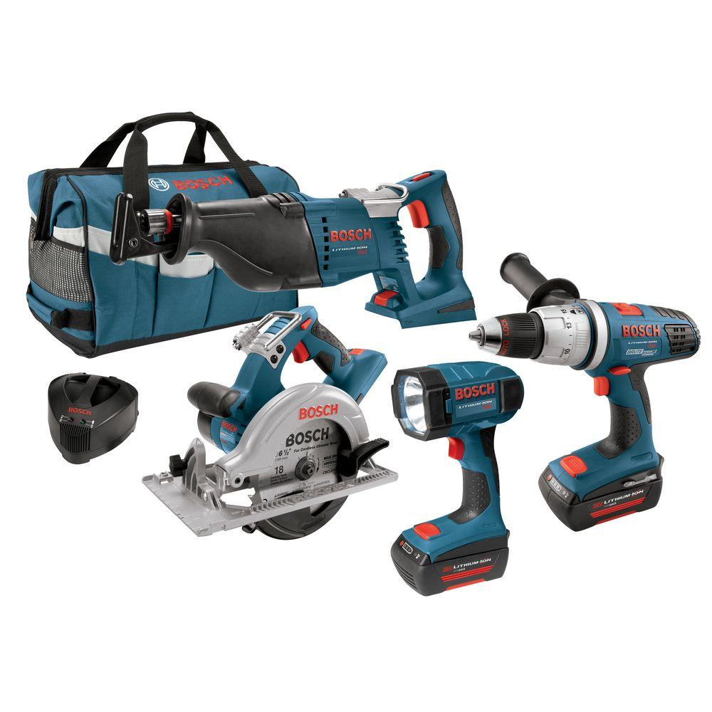 Bosch 36-Volt Lithium-Ion Hammer D/D, Circ Saw, Recip Saw, Flashlight, 2 Slim Pack Batteries Combo Kit (4-Tool)