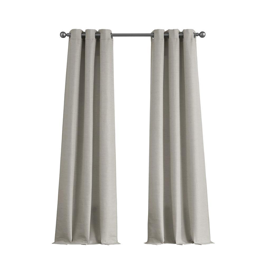 Raw Faux Silk Grommet 76 In X 96 Curtain Panel Pair Light Grey