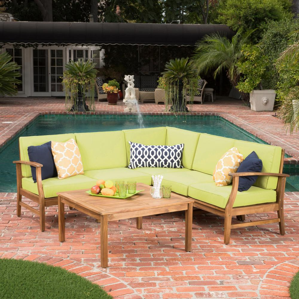 Noble House Giancarlo Teak Finish 6-Piece Wood Outdoor Sectional Set with  Green Cushions