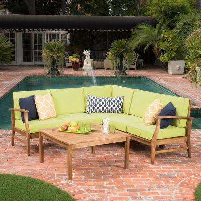 Giancarlo Teak 6-Piece Wood Outdoor Sectional Set with Green Cushions
