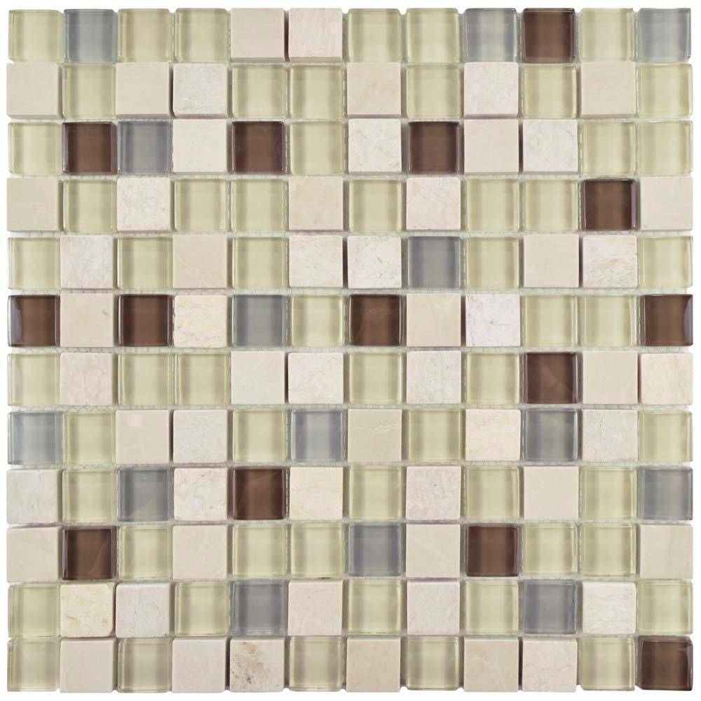 Merola Tile Tessera Square York 11-5/8 in. x 11-5/8 in. x 8 mm Glass and Stone Mosaic Tile