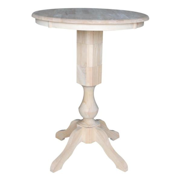Sophia Ready to Finish 30 in. Unfinished Solid Wood Round Bar Table