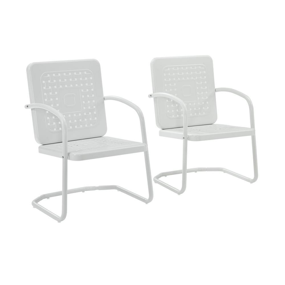 CROSLEY Bates White Metal Outdoor Lounge Chair